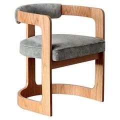 Natural Oak Zuma Dining Chair with Curved Back Frame by Kelly Wearstler