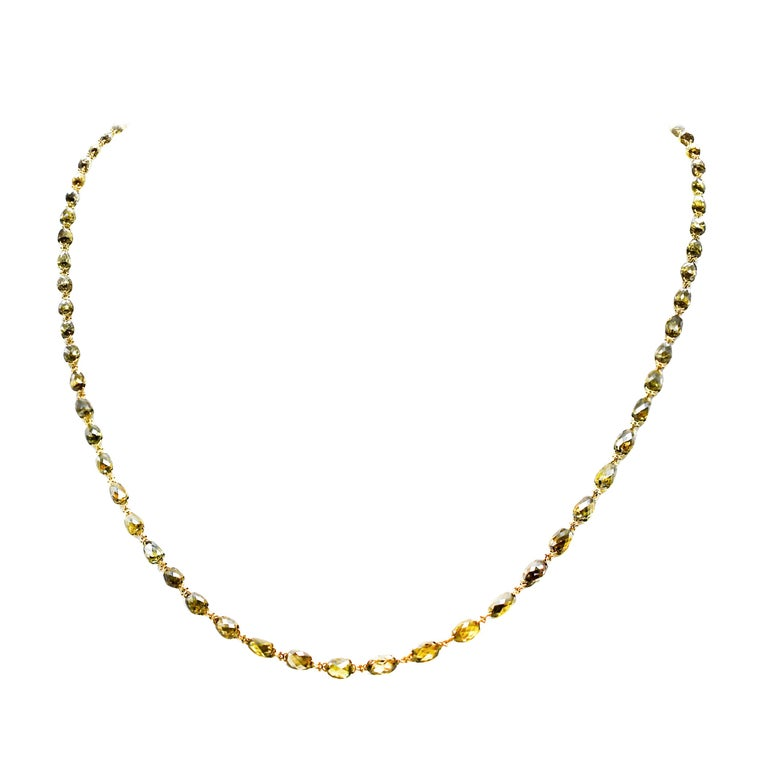Natural Olive Green Diamond Briollette Chain Necklace in 18 Karat Gold For Sale