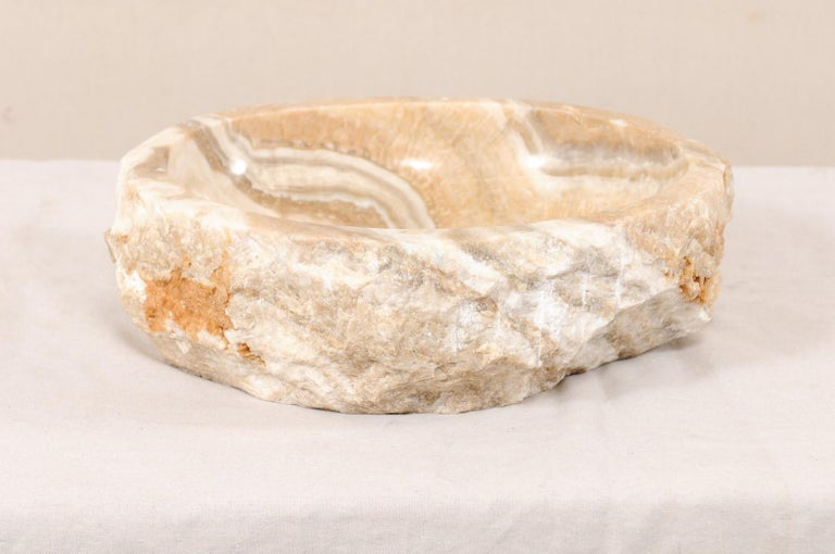 Contemporary Natural Onyx Sink Basin in Cream, White, Beige and Grey For Sale