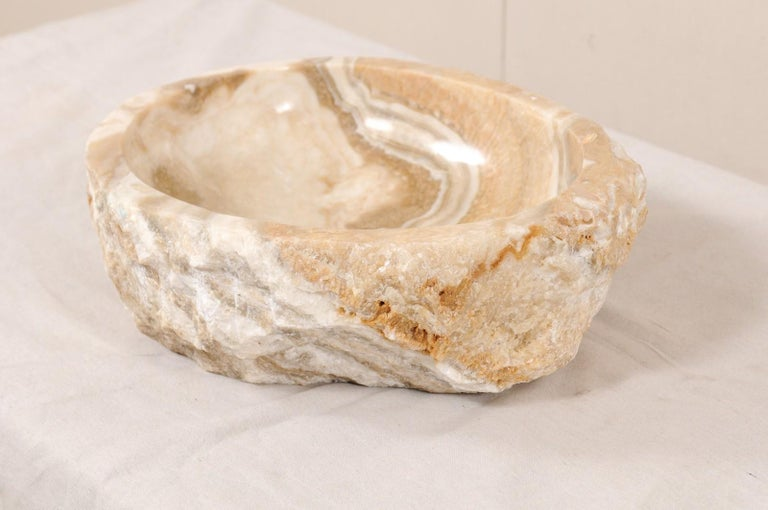 Natural Onyx Sink Basin in Cream, White, Beige and Grey For Sale 2