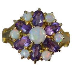Natural Opal and Amethyst 9 Carat Gold Cluster Ring