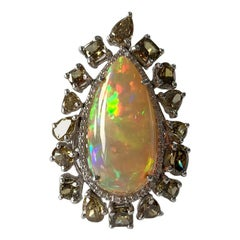 Natural Opal and Fancy Diamond Ring Set in 18 Karat Gold
