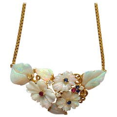 Natural Opal Carving Pendant Necklace in 18 Karat Gold with Sapphire and Ruby