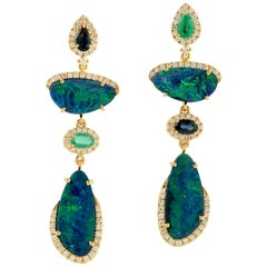 Natural Opal Dangle Earring Diamond with Sapphire and Emerald in 18k Yellow Gold