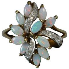 Natural Opal and Diamond 9 Carat Gold Cluster Cocktail Ring