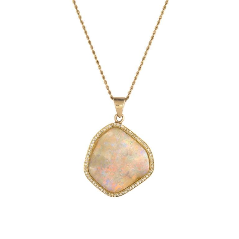 Natural Opal Diamond Pendant Necklace Vintage 18 Karat ...