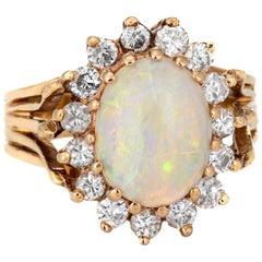 Natural Opal Diamond Ring Vintage 14 Karat Yellow Gold Oval Princess Jewelry
