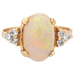 Natural Opal Diamond Ring Vintage 14k Yellow Gold Oval Cut Jewelry