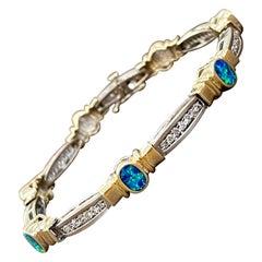 Natural Opal & Diamond Tennis Bracelet 14 Karat Two Tone Gold