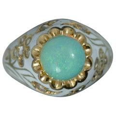 Natural Opal Rose Cut Diamond and White Enamel 18 Carat Gold Ring