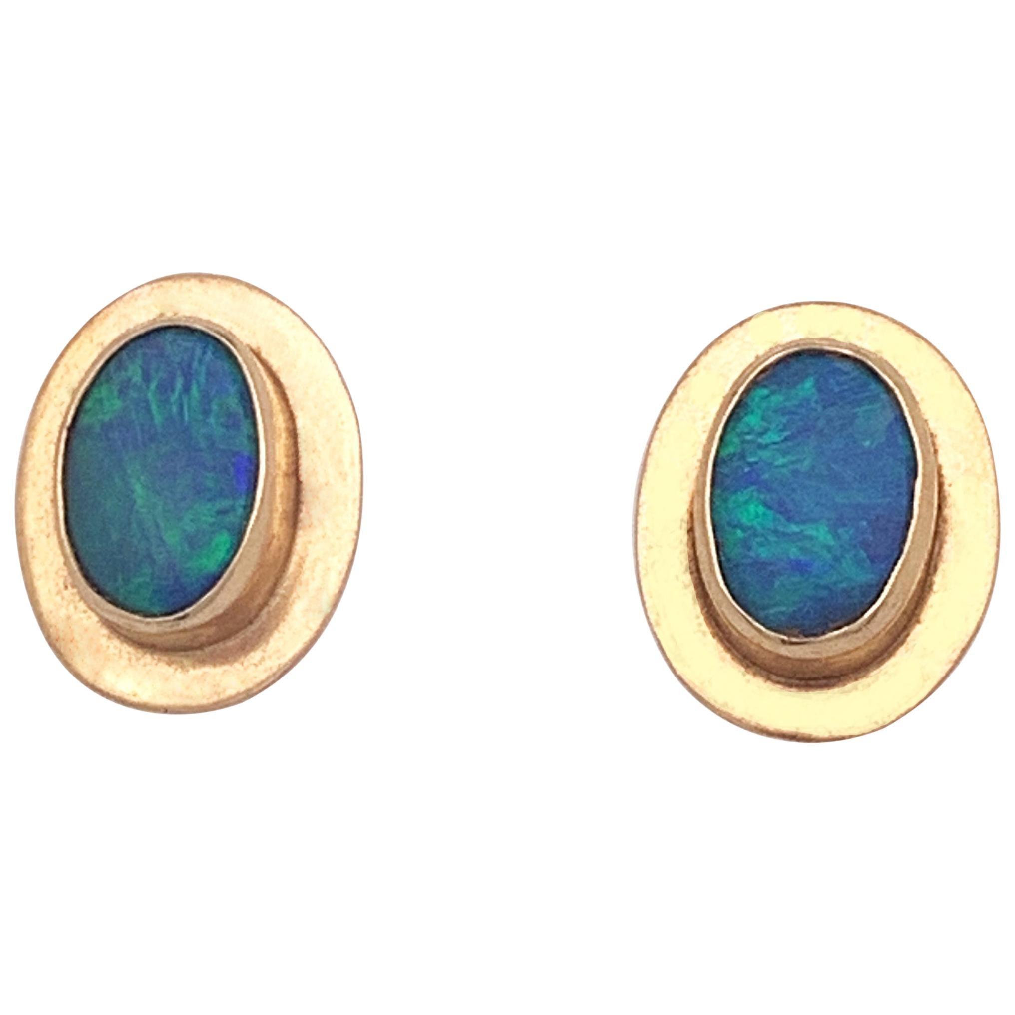 Natural Opal Stud Earrings Encased in 14 Karat Yellow Gold Bezels