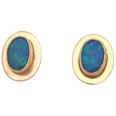 Natural Opal Stud Earrings Encased in 14 Karat Yellow Gold Bezels