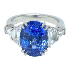 Natural Oval Blue Sapphire & Diamond Ring in Handmade Platinum Mounting 7.11 CT