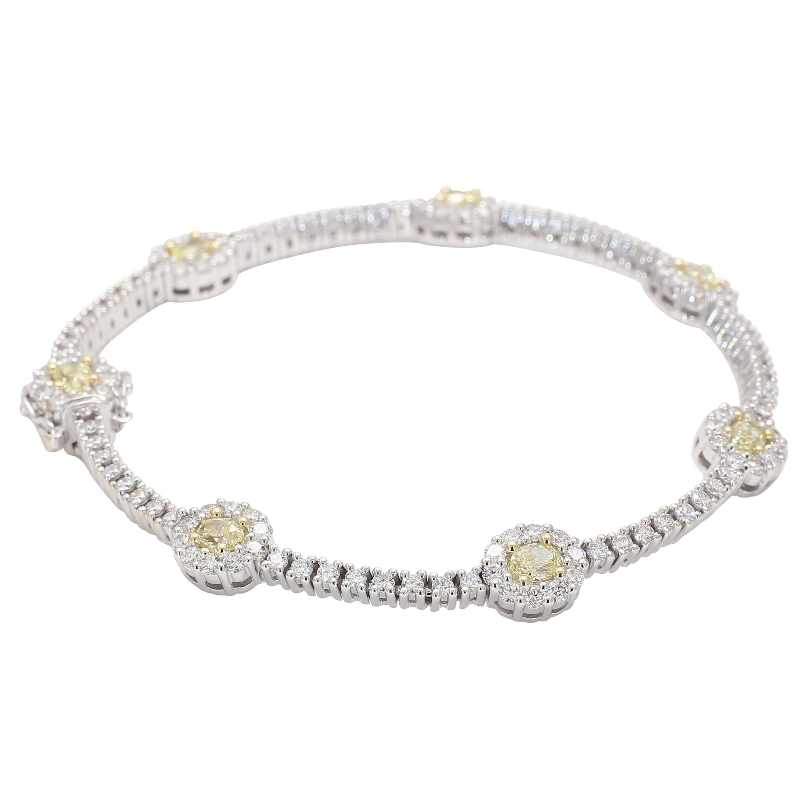 Natural Oval Yellow Diamond 4.85 Carat TW 18 Karat White Gold Bracelet