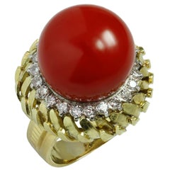 Natural Oxblood Coral Diamond 18 Karat Yellow Gold Dome Ring