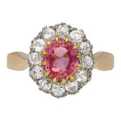 Natural Padparadscha Sapphire and Diamond Coronet Cluster Ring, circa 1910