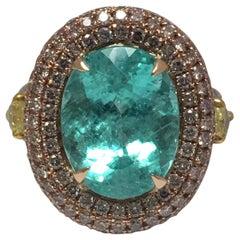 Natural Paraiba Tourmaline and Diamonds Ring