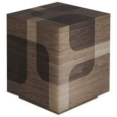 Natural Patterned Wood Auxiliar Table Bodega Collection by Joel Escalona