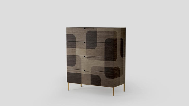 The depth of one object goes beyond its dimensions.  Bodega dresser is a furniture piece that by its material and colors simulates the three-dimensional sensation generated by one surface flying over another. Where darkness dominates light