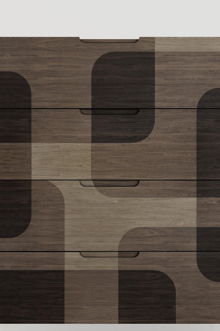 Contemporary Natural Patterned Wood Dresser from Bodega Collection by Joel Escalona For Sale