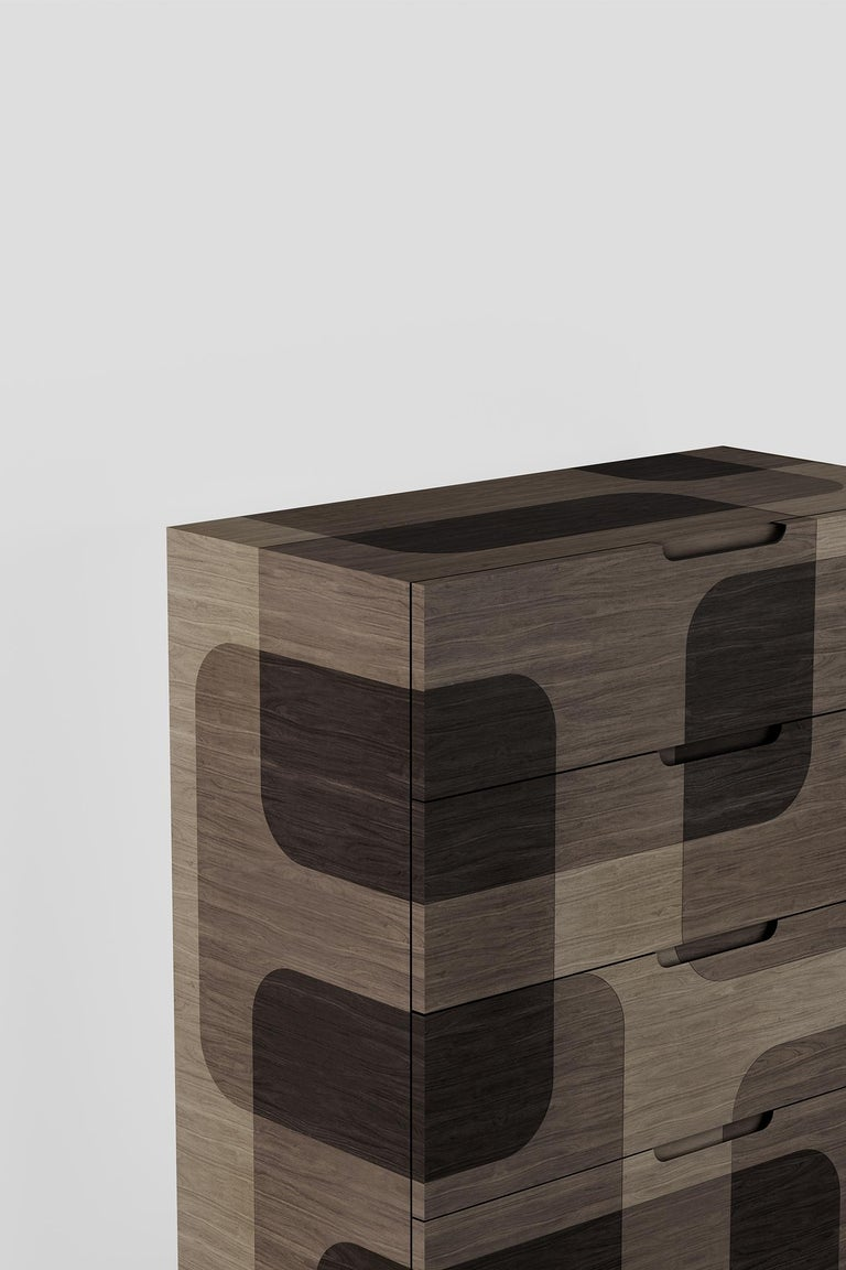 Plywood Natural Patterned Wood Dresser from Bodega Collection by Joel Escalona For Sale