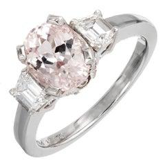 2.22 Carat Natural Peach Orange Sapphire Diamond Platinum Engagement Ring