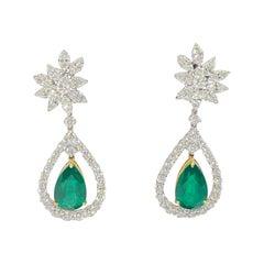 Natural Pear Shape Emerald and Diamond Dangle Drop Earrings 18 Karat 8.26 Carat