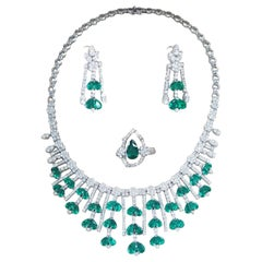 RARE Certified Natural Matching Colombian Pear Shape Emeralds and Diamonds Set