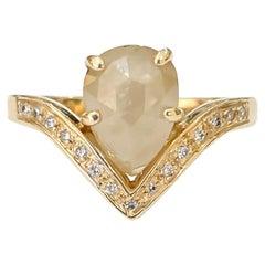 Natural Pear Shape Rose Cut Cream Diamond Hand Fabricated Ring Yellow Gold 1.97