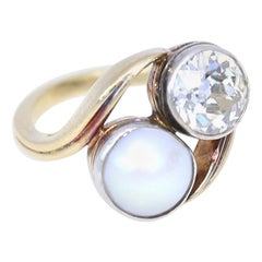 Natural Pearl 2 Carat Diamond Ring, Russia, 1920