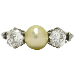 Natural Pearl 2 Diamond Edwardian Platinum Trinity 3-Stone Engagement Ring