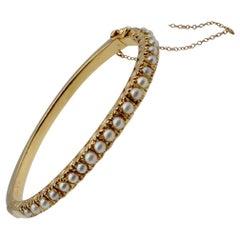 Natural Pearl and 14 Karat Gold Victorian Clamper Bracelet