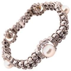 Natural Pearl and Diamond Bracelet in 18 Karat White Gold