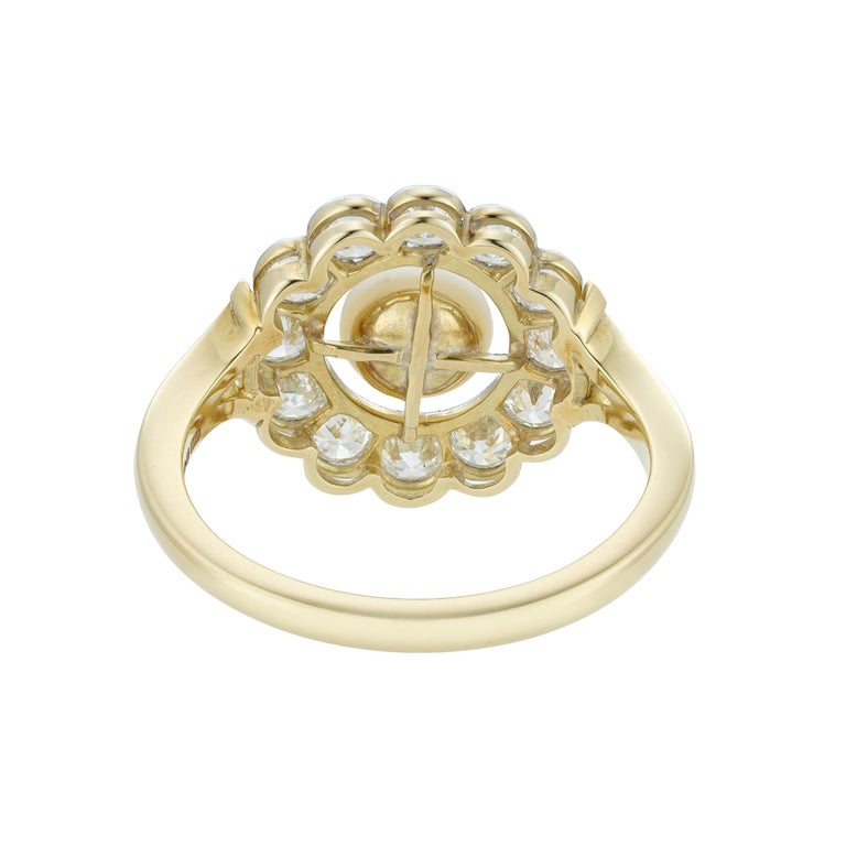 Art Deco Natural Pearl and Diamond Cluster Ring For Sale