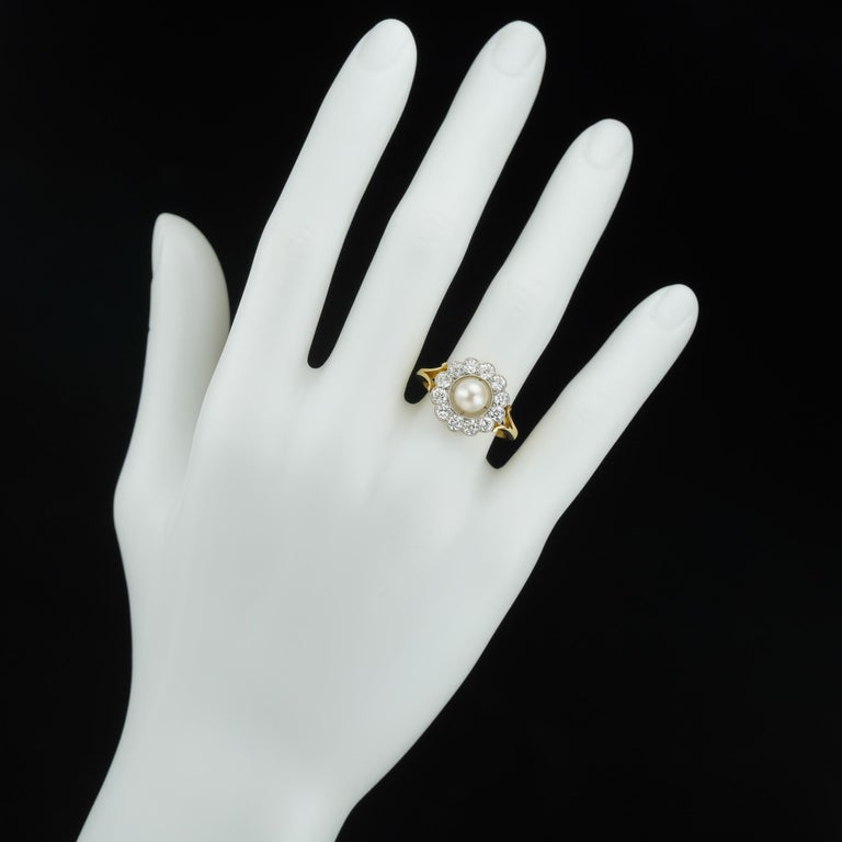 Women's or Men's Natural Pearl and Diamond Cluster Ring For Sale