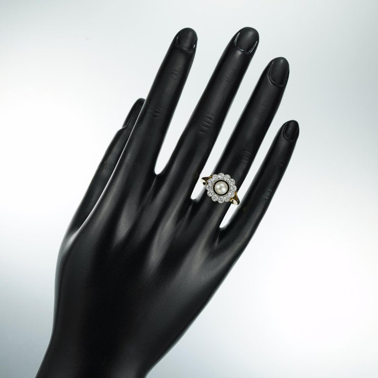 Natural Pearl and Diamond Cluster Ring For Sale 1