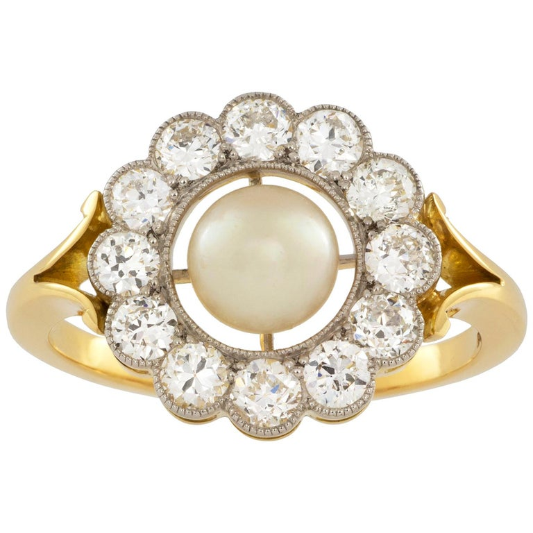 Natural Pearl and Diamond Cluster Ring For Sale