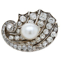 Natural Pearl and Diamond Maritime Brooch, circa 1900, Austrian