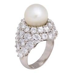 Natural Pearl and Diamond Platinum Cocktail Ring