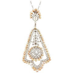 Natural Pearl and Diamond Platinum Pendant with Platinum Chain