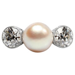 Natural Pearl and Diamond Ring by Black Starr and Frost