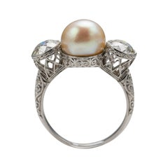 Natural Pearl and Diamond Ring by Black Starr and Frost GIA Certified