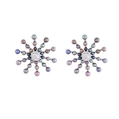 Natural Pearl and Diamond Starburst Style Earrings in 18kt White Gold
