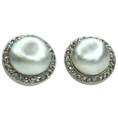 GEMOLITHOS Natural Pearl and Diamond Stud Earrings 1910