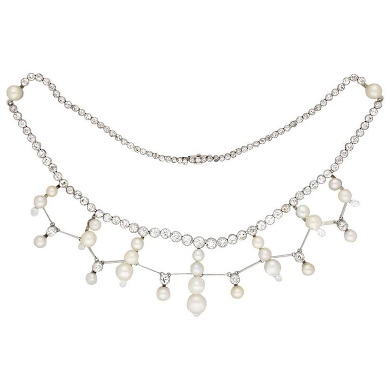 Natural Pearl and Diamond Tiara/Necklace/Bracelet, circa