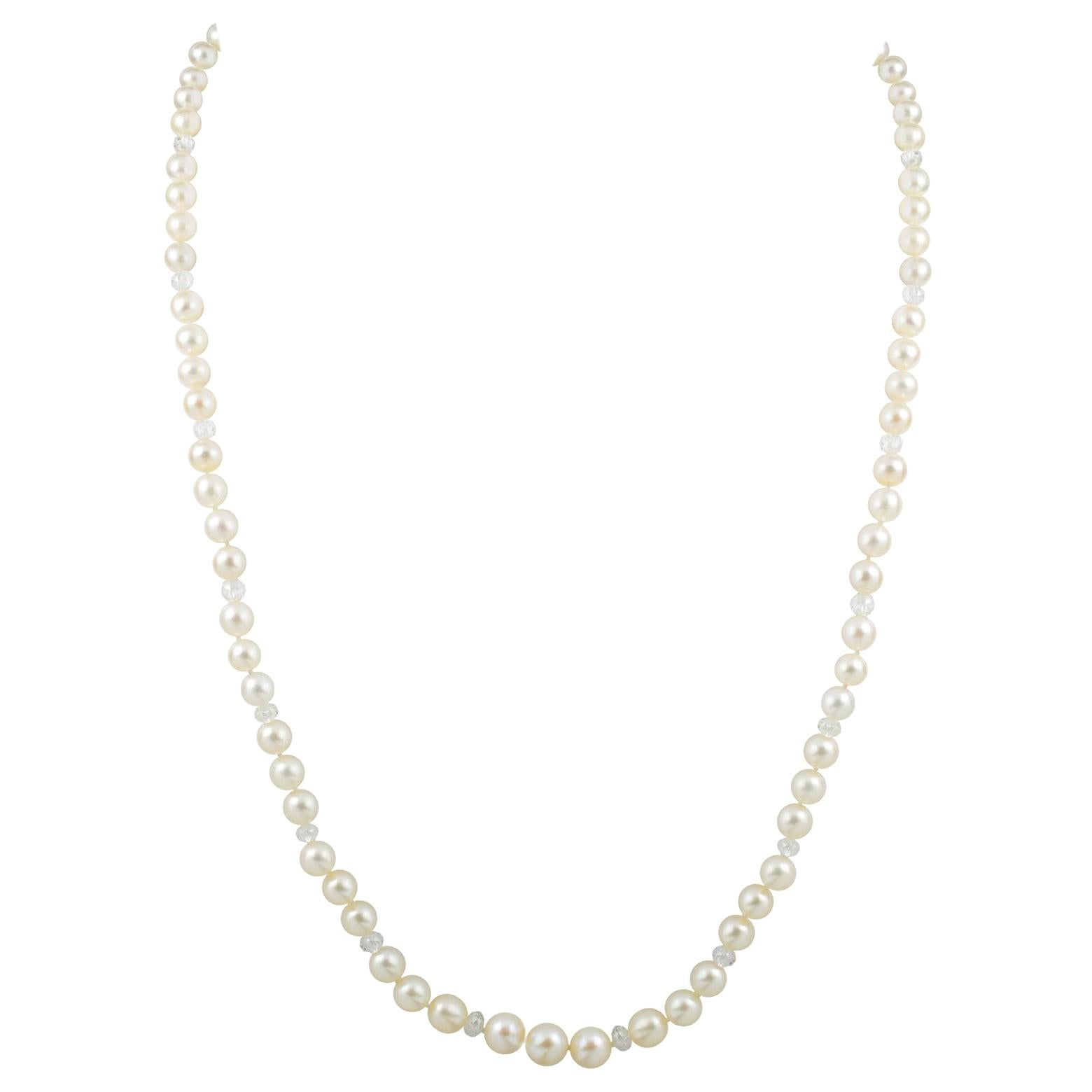Natural Pearl and Faceted Diamond Bead Necklace