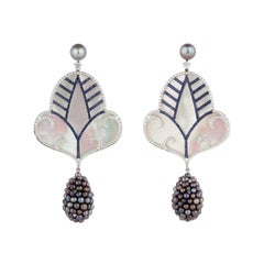 Natural Pearl and Mother of Pearl Drop Earrings with Sapphires and Diamonds