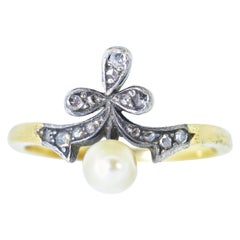 Natural Pearl and Rose Cut Diamond Antique Ring