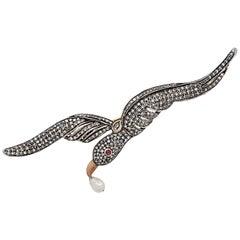 Natural Pearl Bird Brooch Pin
