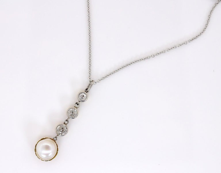 Natural Pearl Diamond Antique Pendant In Good Condition In Beverly Hills, CA